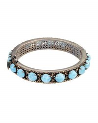 Bavna Aquamarine And Champagne Diamond Bangle Bracelet