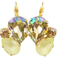 Isabella Tropea Crystal Pear Cluster Earrings Luminous Green And Powder Yellow Gold