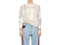 Koche Lace Detailed Mixed Knit Sweater White