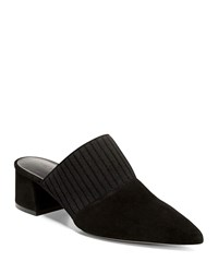 Vince Raven Suede Mule With Pleated Strap Black