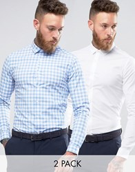 Asos Skinny Shirt In White With Blue Gingham Check Pack Multi