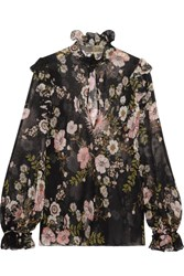 Giambattista Valli Ruffled Floral Print Silk Georgette Blouse Black