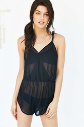 Out From Under Surplice Romper Black