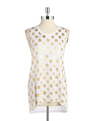 Betsey Johnson Sketched Dot Tank White Gold