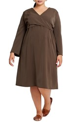 Elvi Plus Size Chasse Crossover Bodice Dress Brown