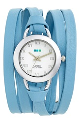 La Mer 'Saturn' Leather Wrap Watch 32Mm Wedgewood Blue