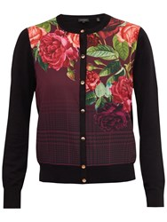 Ted Baker Teeah Juxtapose Rose Print Cardigan Black
