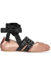 Miu Miu Buckled Leather And Satin Ballet Flats Blush