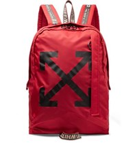 Off White Easy Logo Print Canvas Backpack Red