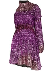 Halpern One Shoulder Sequin Mini Dress Pink