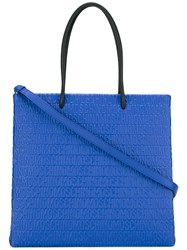 Moschino Logo Embossed Tote Blue