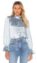 Cynthia Rowley Ruffle Neck Bell Sleeve Top In Blue. Light Blue