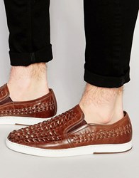 Dune Woven Slip On Plimsolls In Tan Leather Tan