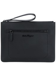 Salvatore Ferragamo Firenze Clutch Calf Leather Black
