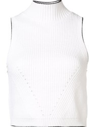 Zac Posen 'Liv' Turtle Crop Top White