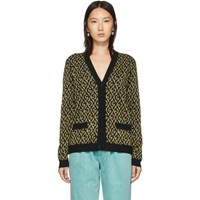 Gucci Black And Gold Lame G Cardigan