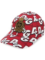 Dolce And Gabbana All Over Logo Cap Red