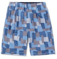 Nonnative Manager Easy Patchwork Cotton Shorts Blue