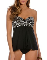 Miraclesuit Two Tone Draped Bandeau Tankini Top Black