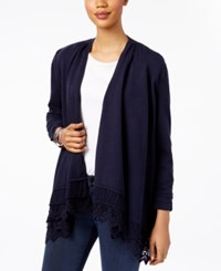 Style And Co Open Front Crochet Hem Cardigan Only At Macy's Industrial Blue