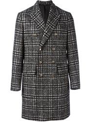 Hevo Plaid Double Breasted Coat Black