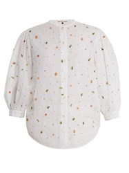 Jupe By Jackie Agrigan Floral Embroidered Cotton Blouse White Multi