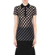 Stella Mccartney Checked Knitted Polo Shirt Navy Transparent