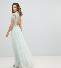 Frock And Frill Premium Embellished Top Maxi Dress Blue