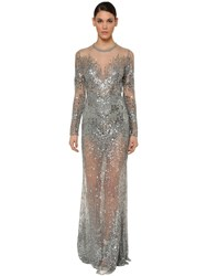Elie Saab Long Sleeve Embellished Tulle Dress Silver