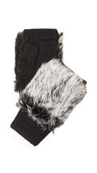Adrienne Landau Knit Fingerless Mittens With Fur Trim Black