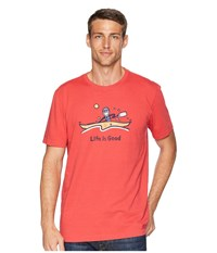 Life Is Good Jake Kayak Crusher Tee Americana Red T Shirt