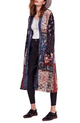 Free People Songbird Patched Coat Blue Combo
