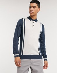 Ben Sherman Half Button Knitted Jumper Blue
