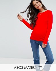 Asos Maternity Jumper In Rib With Tipping And Ruffle Red