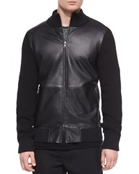 Vince Leather Zip Up Jacket With Wool Sleeves Black