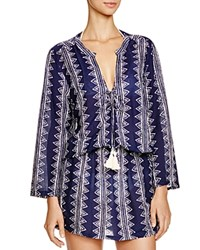 Coolchange Stargaze Stripe Tunic Swim Cover Up Indigo White