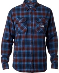 Fox Men's Trail Dust Plaid Flannel Shirt Navy