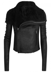 Rick Owens Black Cropped Shearling Lined Jacket