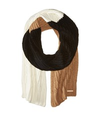 Michael Michael Kors Color Block Rib Cable Muffler Camel Black Cream Scarves White