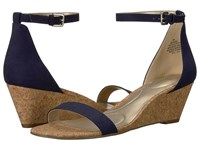 Bandolino Omira Navy Faux Suede Wedge Shoes