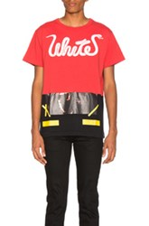 Off White Patchwork Tee In Red