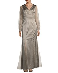 Kay Unger New York V Neck Satin Gown W Chiffon Sleeves Brown