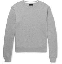 Calvin Klein 205W39nyc Leather Appliqued Loopback Cotton Jersey Sweatshirt Light Gray