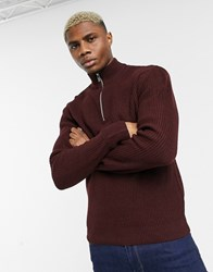 Topman Knitted Half Zip Jumper In Berry Red