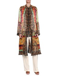 Etro Pleated Patchwork Print Silk Coat Brown