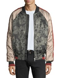 Eleven Paris Mixed Satin Light Bomber Jacket Green