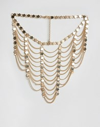 Ashiana Multi Layered Chain Drape Necklace Gold