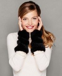 The Fur Vault Knitted Mink Fur Fingerless Gloves Black