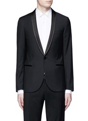 Lanvin Chain Stitch Shawl Lapel Wool Blazer Black