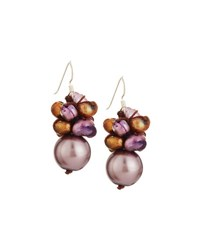 Nakamol Mixed Freshwater Pearl Cluster Drop Earrings Purple